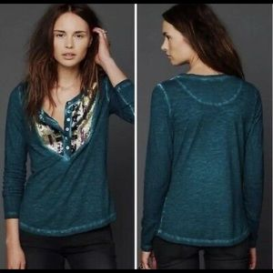 Free people Henley sequins long sleeve